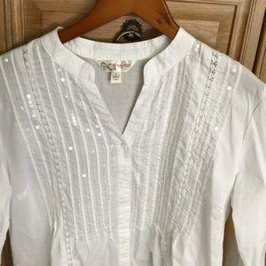 Krazy Kat 3/4 sleeve sequin blouse